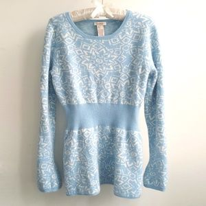 Sundance Snowflake Print Cinched Waist Sweater